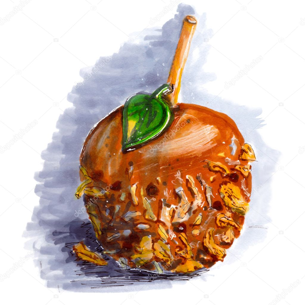 Caramel Apple Drawing Marker Sketch Of Coated Caramel Apple Halloween Dessert On Wooden Stick With Walnut Chocolate Coconut Taffy Tasty Food Gray Shadow Isolated On White Background Hand Drawing On Paper