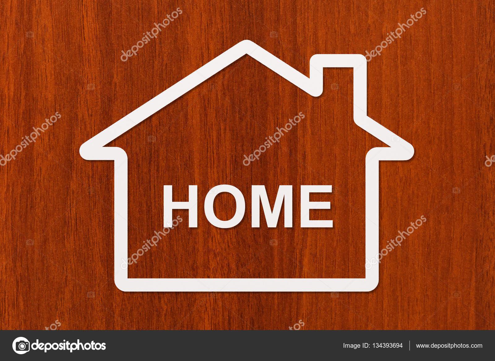 Papierhaus mit nach Hause Text innen. Gehäuse, Familie Konzept ...
