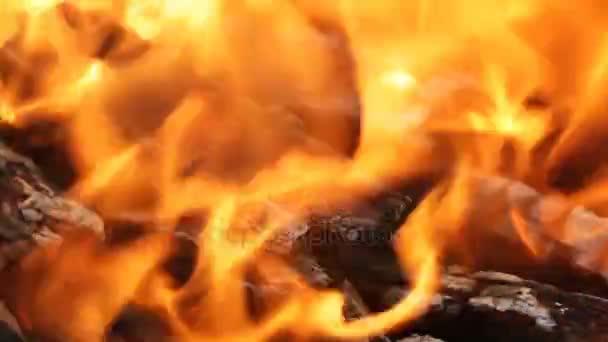 Hořící uhlí, zářící uhlí a plamen v barbecue gril