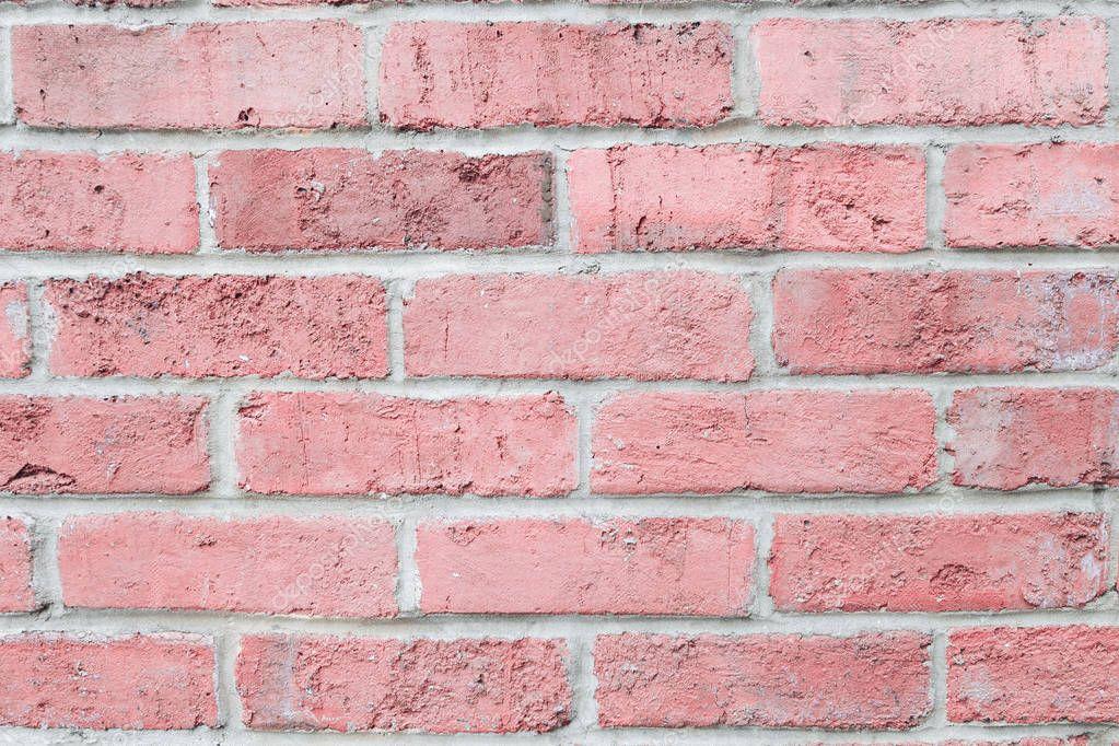 Vintage Pastel Pink Color Brick Wall Horizontal