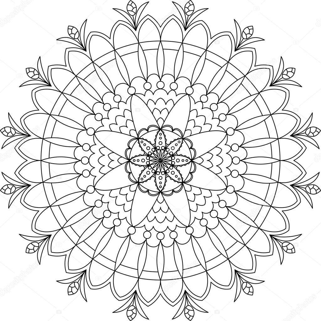 Adult Mandala Coloring Page Stock Vector Fodorviola73 129251936