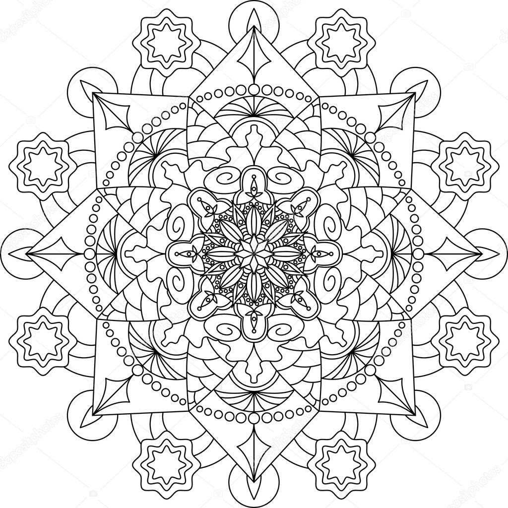 Yetişkin Mandala Boyama Sayfası Stok Vektör Fodorviola73 129251944