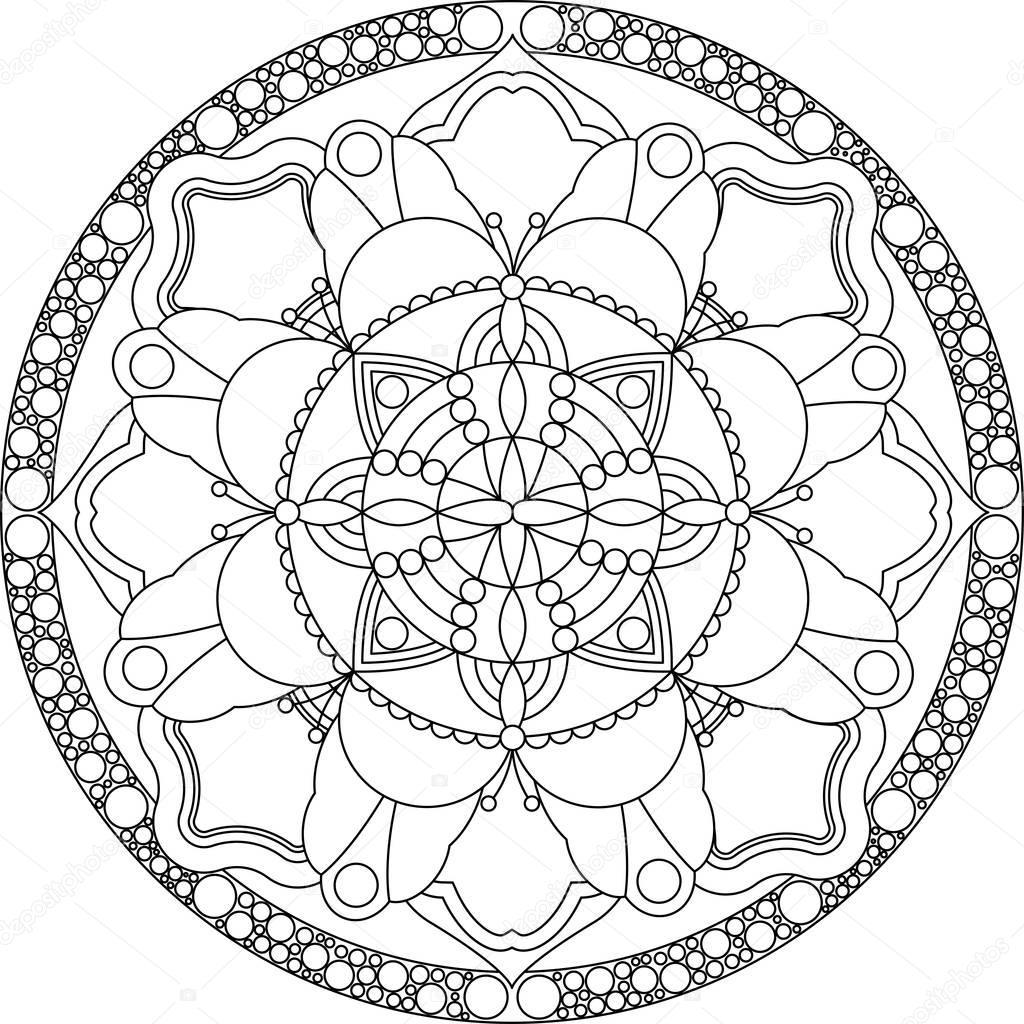 Yetişkin Mandala Boyama Sayfası Stok Vektör Fodorviola73 129251958