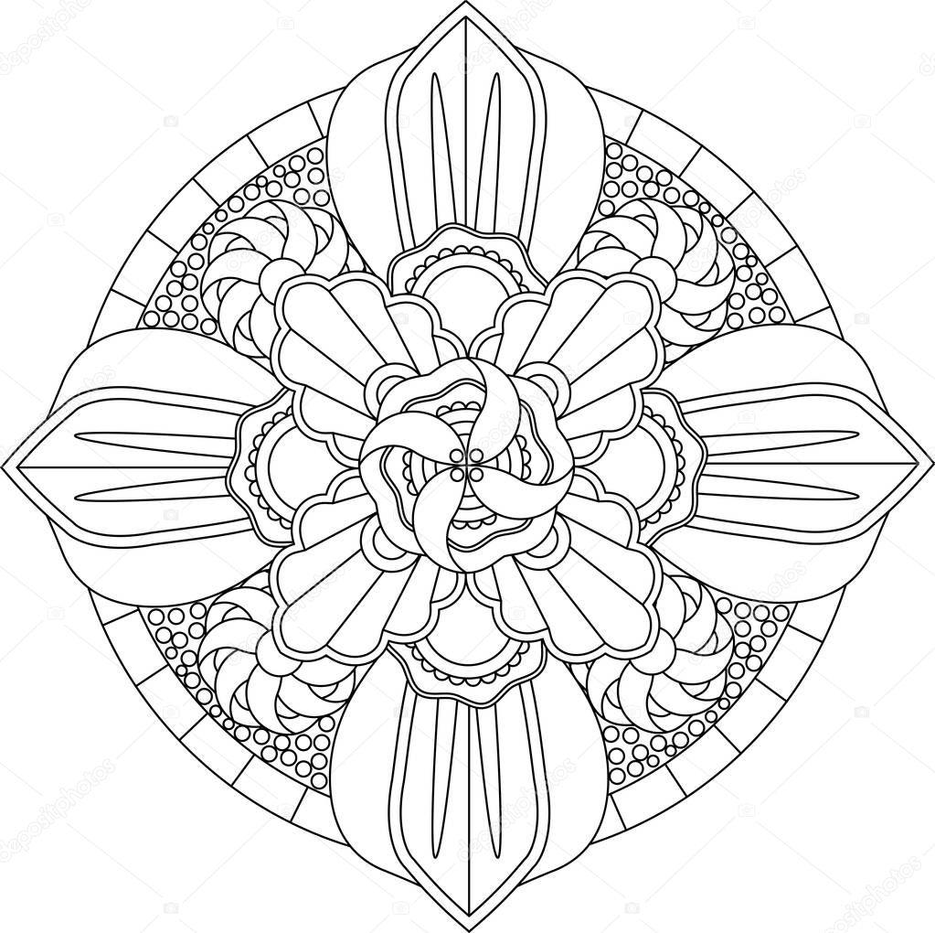 Yetişkin Mandala Boyama Sayfası Stok Vektör Fodorviola73 129252222