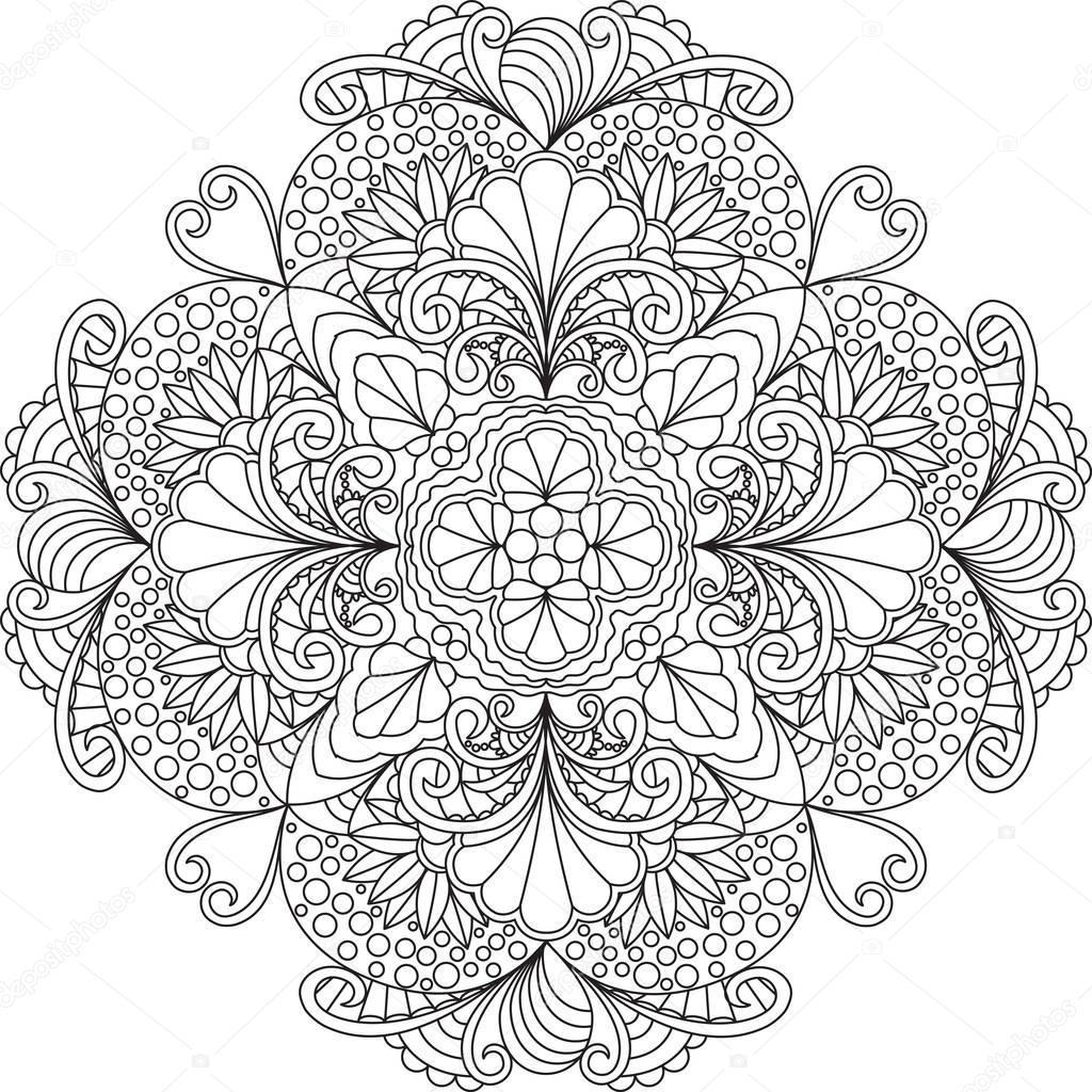 Flowers mandala coloring page. — Stock Vector © Fodorviola73 #130289758