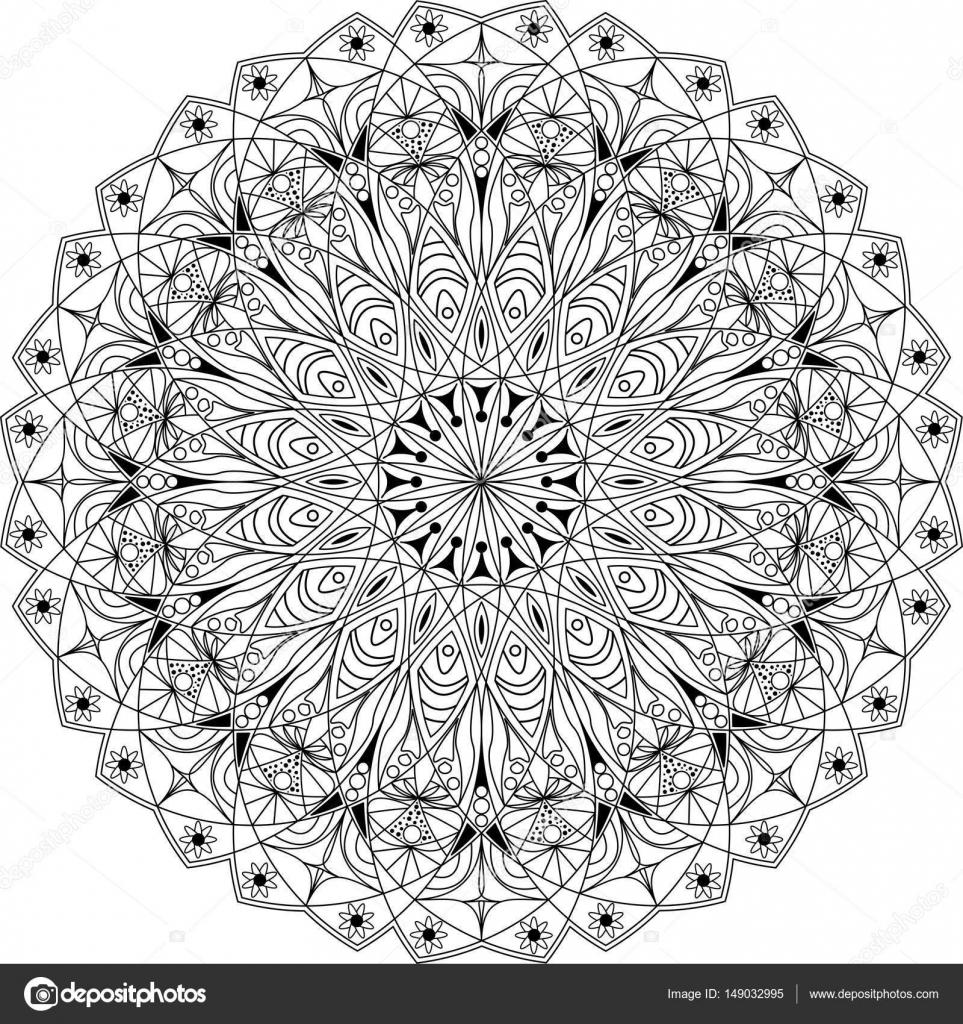 cirkel mandala volwassen kleurplaat stockvector
