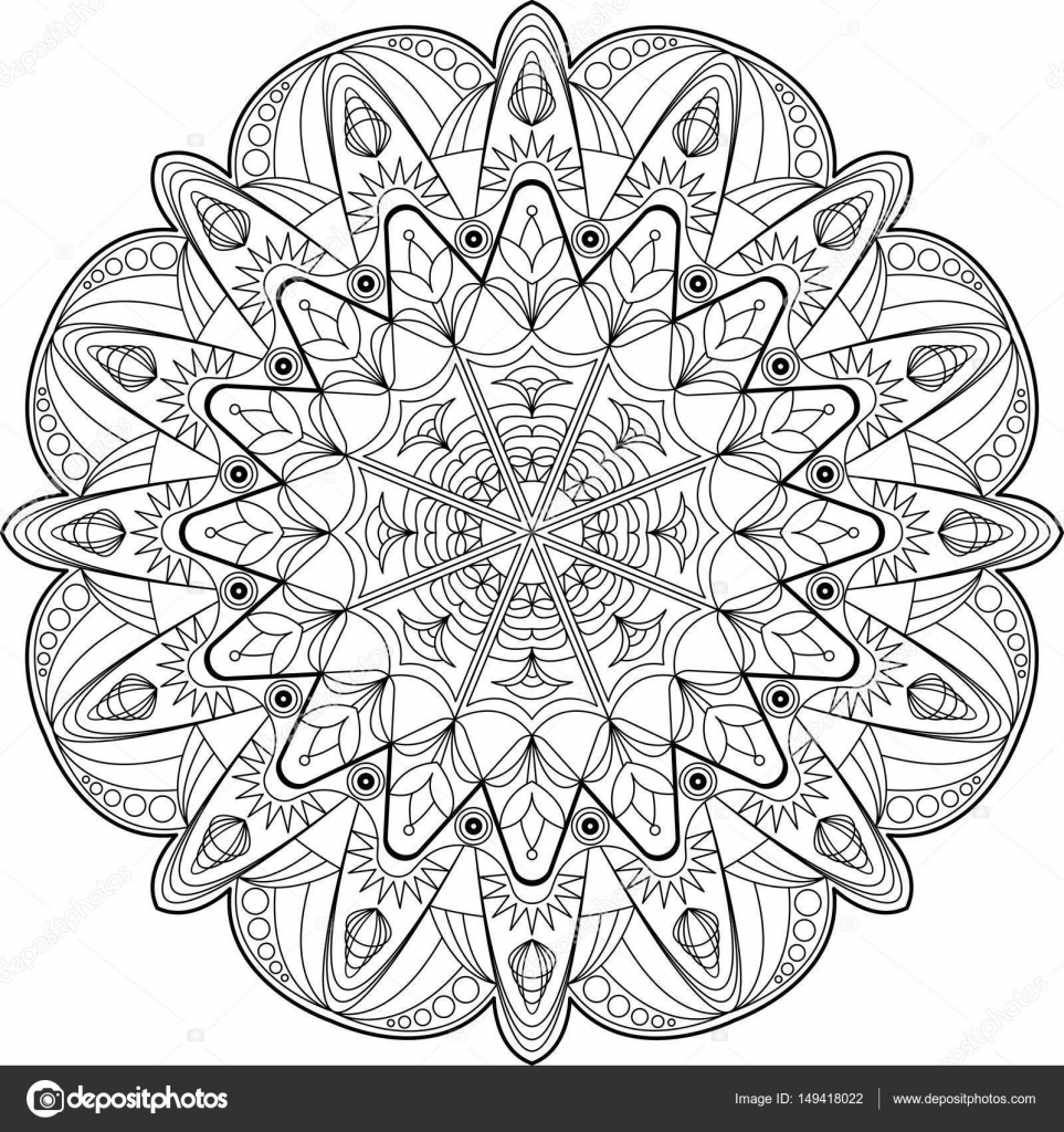 circle mandala adult coloring page stock vector 149418022