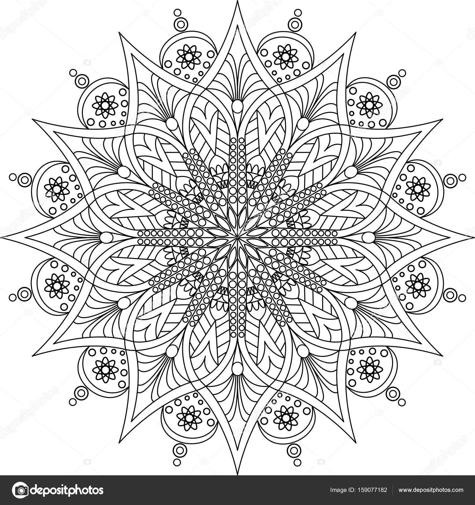 Yetişkin Mandala Boyama Sayfası Stok Vektör Fodorviola73 159077182