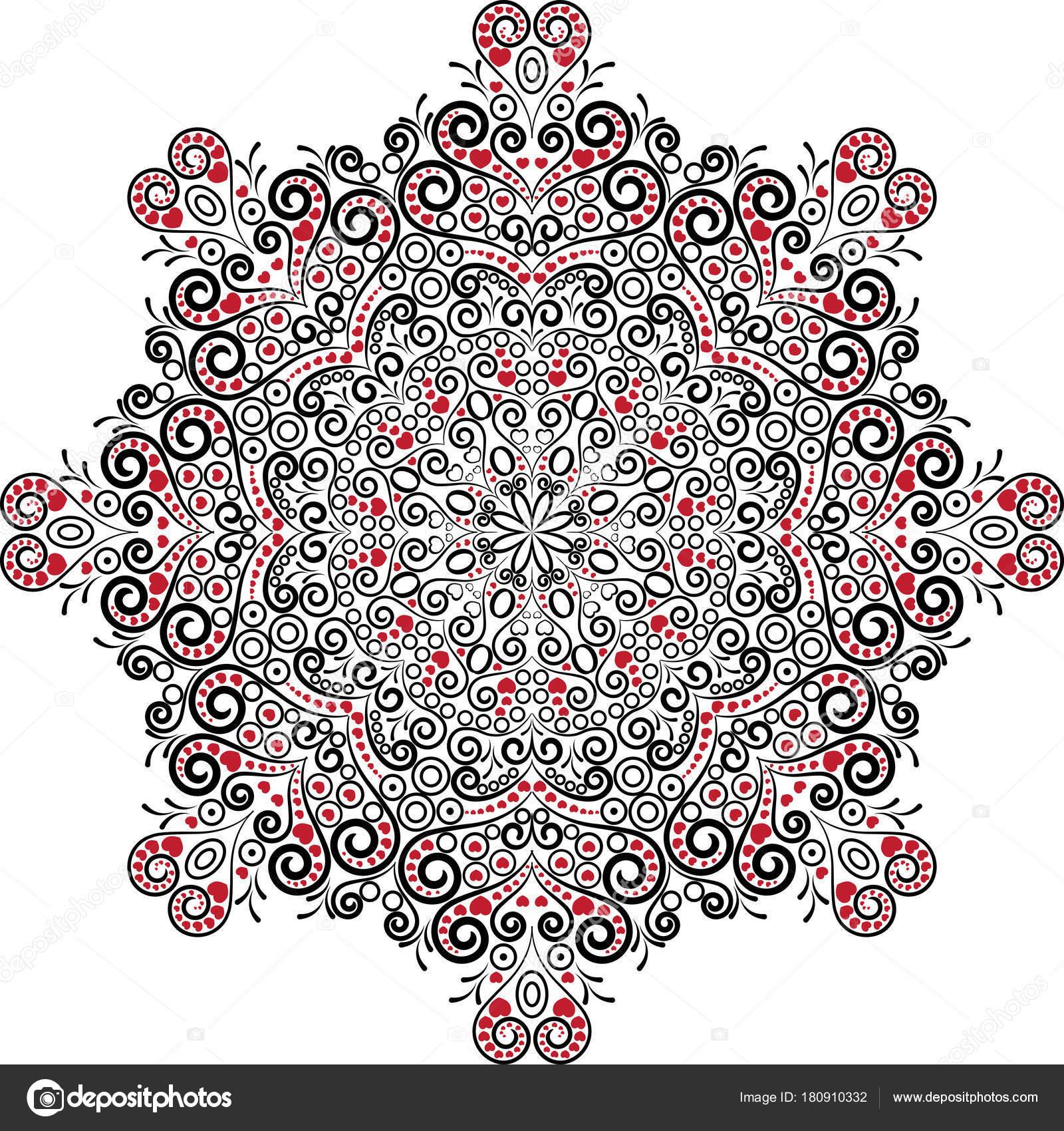 Valentine Mandala Mit Herzen Schwarzen Weißen Und Roten Farben ...