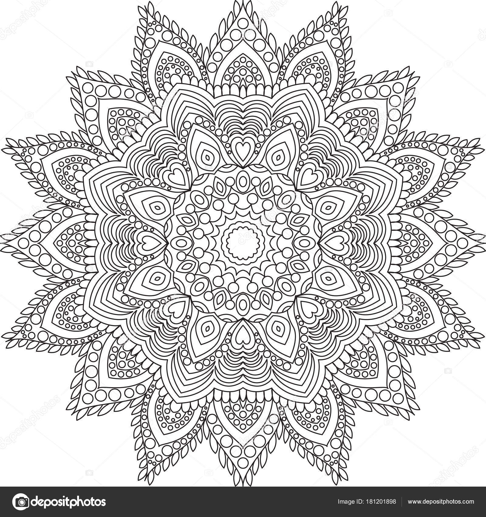 Outline Mandala Adult Coloring Book Page Decorative