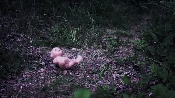 the doll falls to the ground asphalt, sand, grass