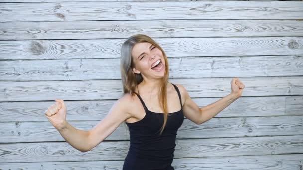 Very happy energetic business woman, good news