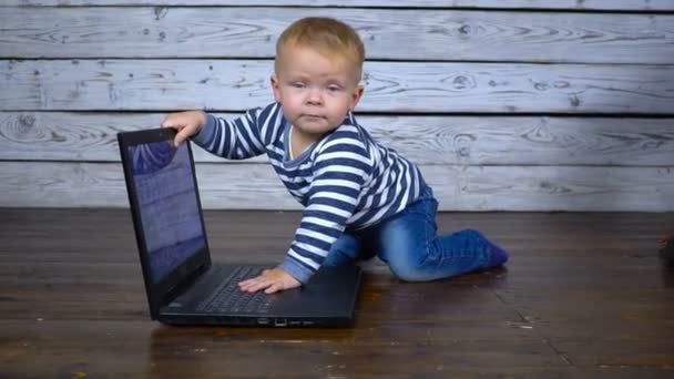 beautiful one year old child is played with a laptop. business comcept