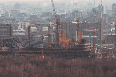 Huge unfinished stadium building under construction