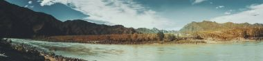 Panoramic view of Katun river and Altay mountains