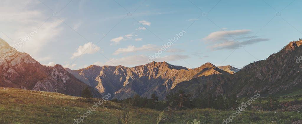 Sunset landscape in Altay mountains