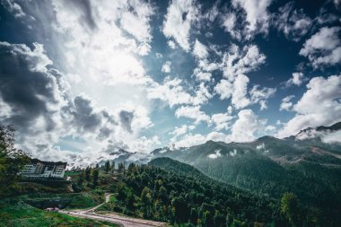 Wide angle scenery of Russian olimpic resort