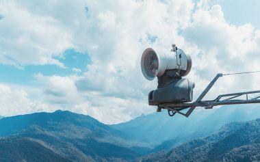 Fan of snow generator machine in mountans