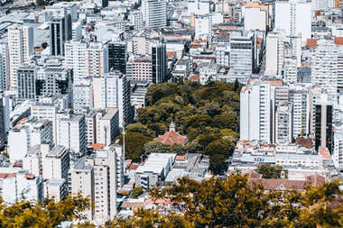 District in Brazilian city from high above