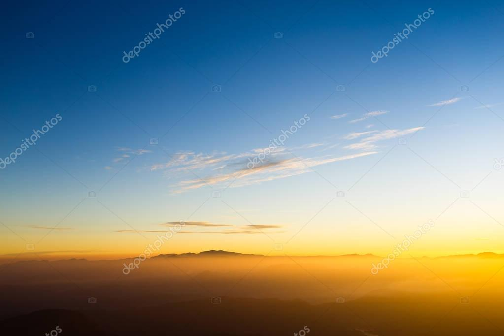 Sunrise on Adam's Peak mountain