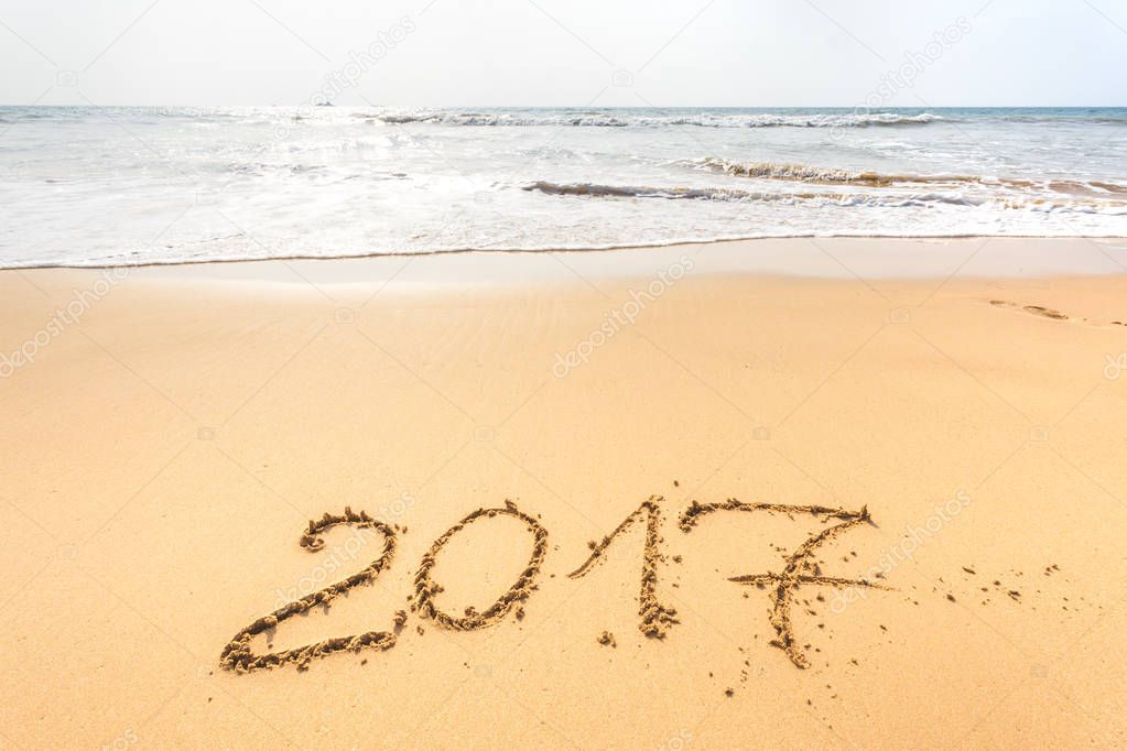 New Year 2017 lettering on beach