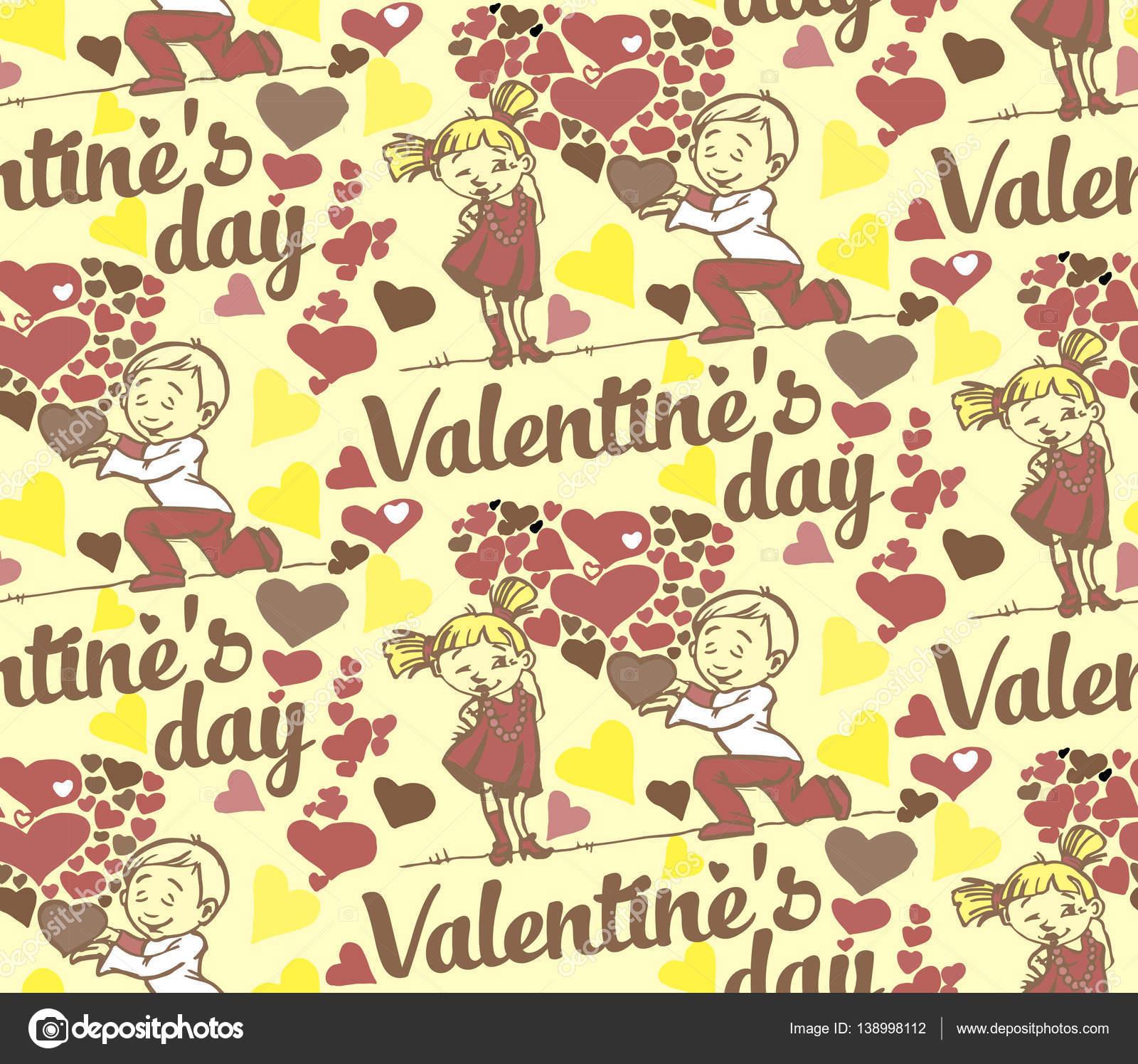 Nahtlose Hintergrund Mit Text Zum Valentinstag Lustige Liebe Kinder