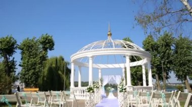 Chairs for the guest on the wedding ceremony. Place of wedding ceremony.
