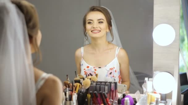 bc5c698dcd Beautiful Young Woman White Nightgown Looks Herself Mirror — Stock Video
