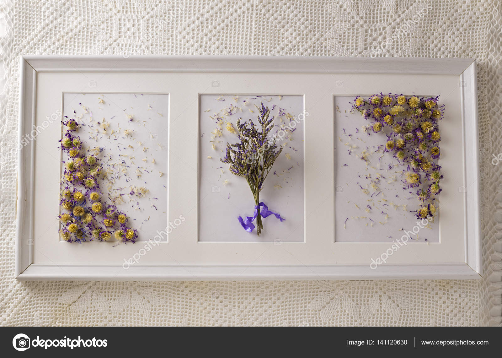 Still life with dried flowers in a white photo frame on white background. — Stock