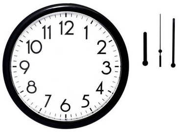 Black wall clock. Isolated on white background.