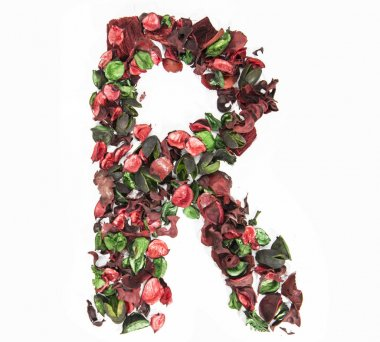 Latin alphabet letter made from dry rose flowers.
