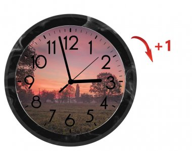 Daylight Saving Time (DST). Wall Clock going to summer time (+1). Turn time forward.