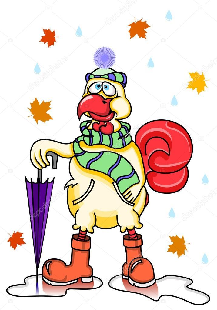 the best attitude 773c2 c579d Herbst romantische lustige Cartoon-Hahn, trägt einen Schal ...