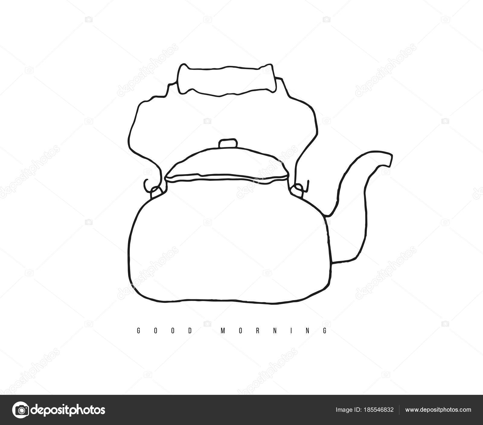 Hand Drawn Doodle Stove Top Kettle Contour Vector Kitchen Line Stock Photo