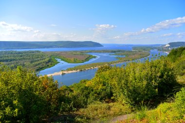 Panoramic view from the hill on the the Volga river near Samara city at summer