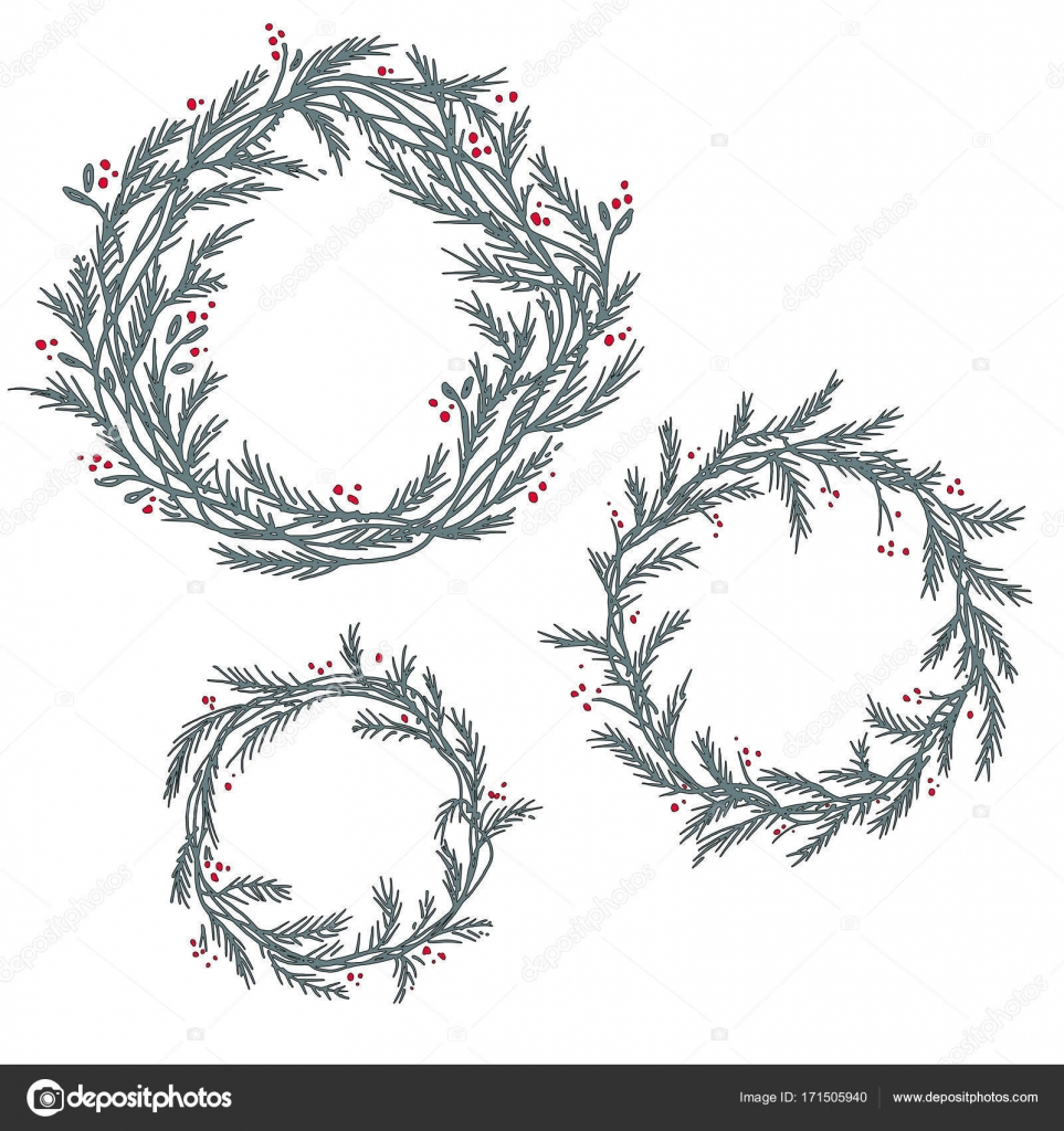 Christmas Wreath Silhouette Vector.Vector Set Of Silhouette Christmas Wreath Frames Stock