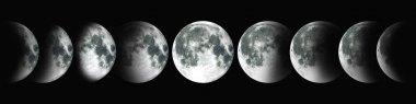 NASA. Cycle of the moon. A circle of the growing moon.