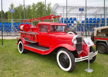 Retro fire truck PMG-1 on the chassis of the car GAZ-AA. . Russia.