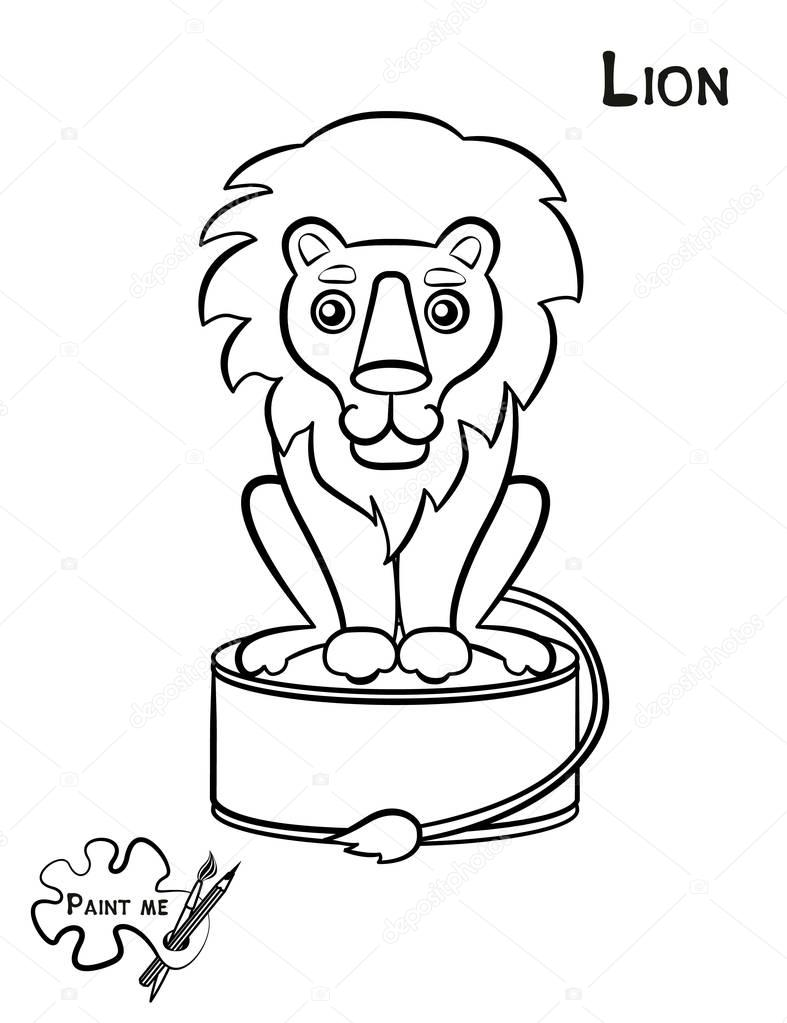 Children\'s coloring book that says Paint me. Lion — Stock Vector ...