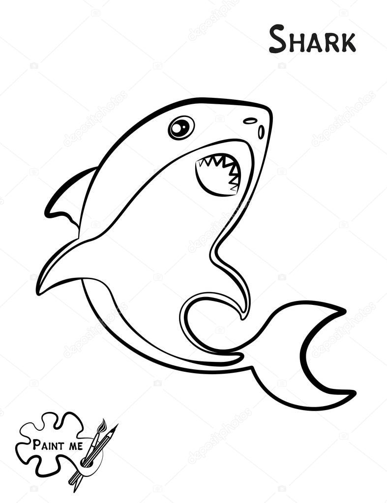 Childrens coloring book that says Paint me Sea life Shark Stock