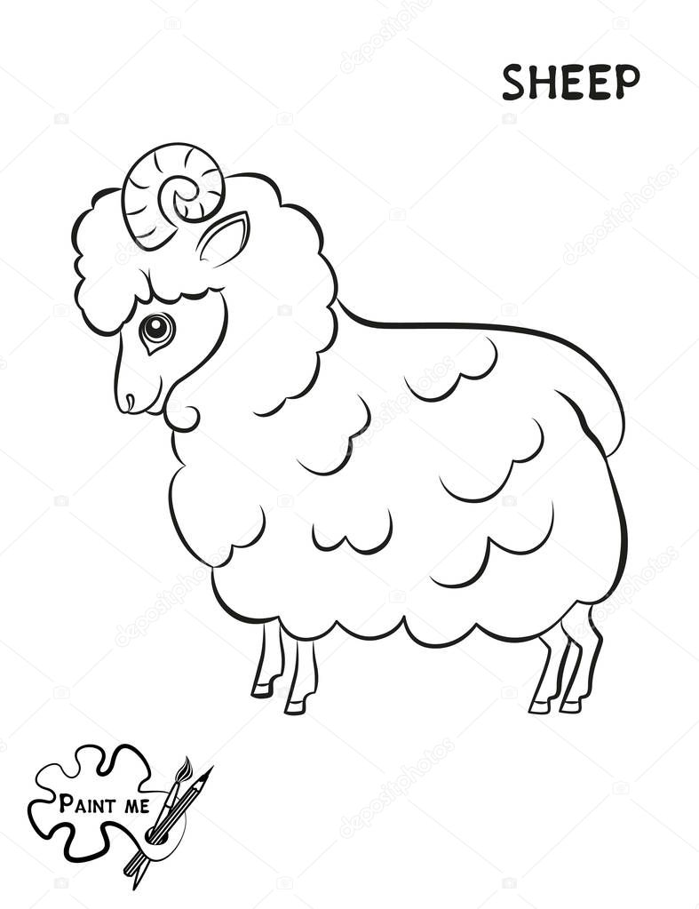 Children\'s coloring book that says Paint me. Sheep — Stock Vector ...