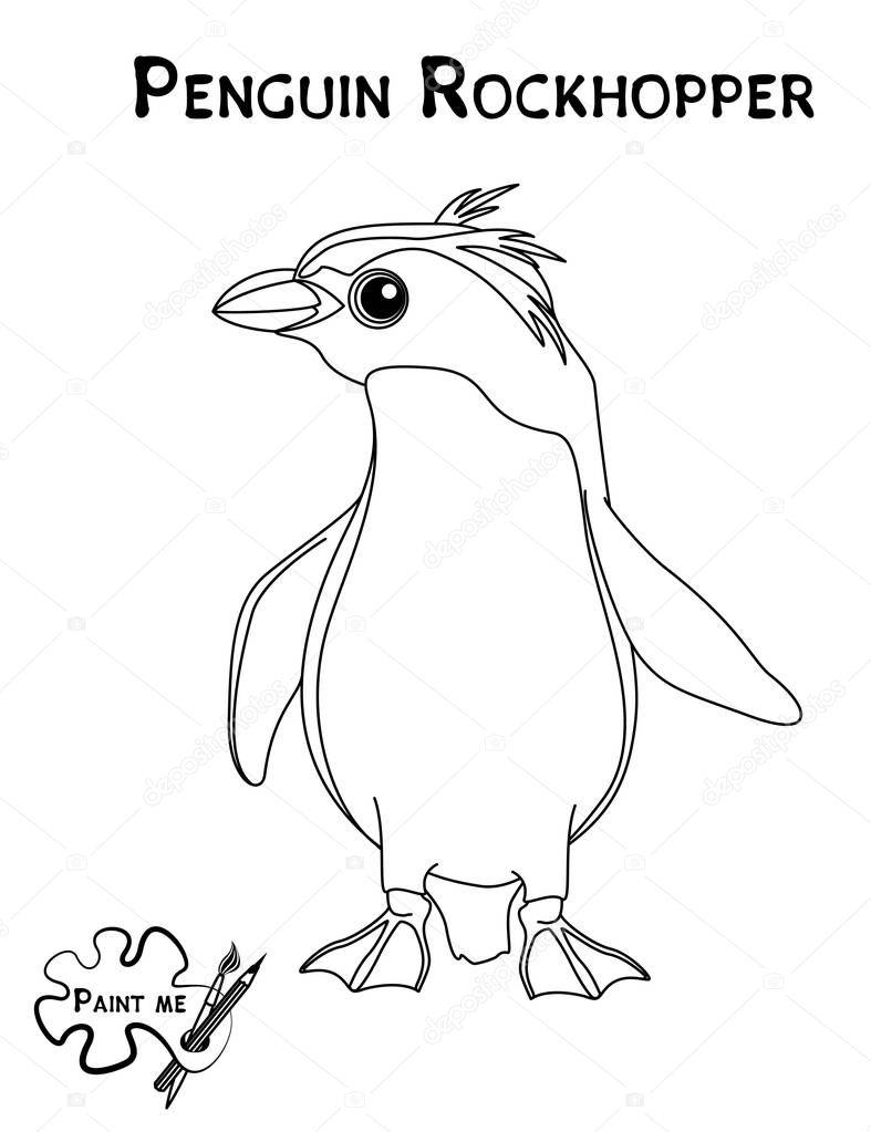 Libro de colorear para niños que dice Píntame. Pingüino penacho ...