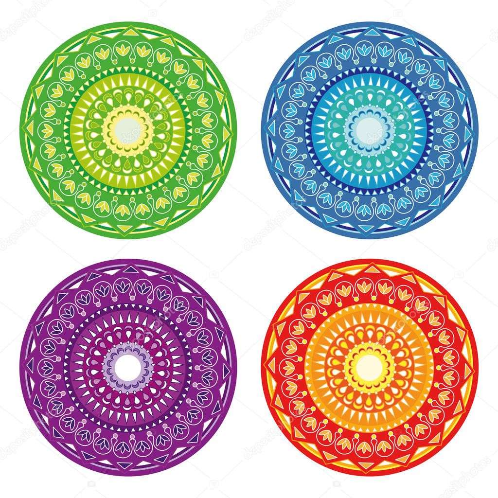 set of abstract circular patterns green blue red purple stock
