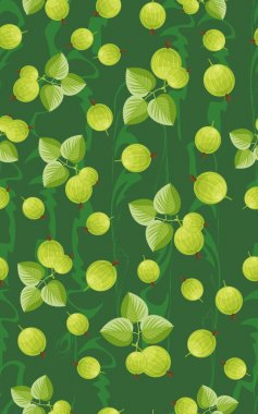 Seamless pattern with berries and leaves of gooseberry