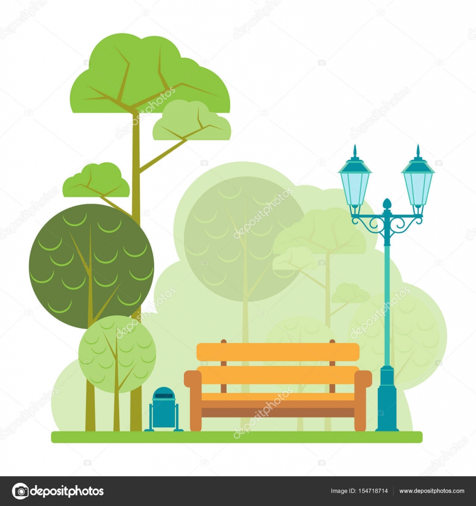 Wooden Bench Old Lantern And Dustbin In The Park Style Fla Stock