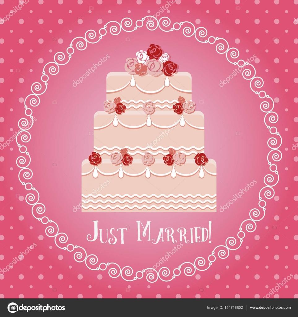 Just Married Grusskarte Mit Hochzeitstorte Im Runden Rahmen
