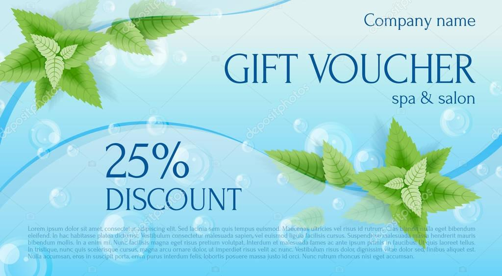 Gift voucher. Gift Certificate. Gift card. Coupon template. Back