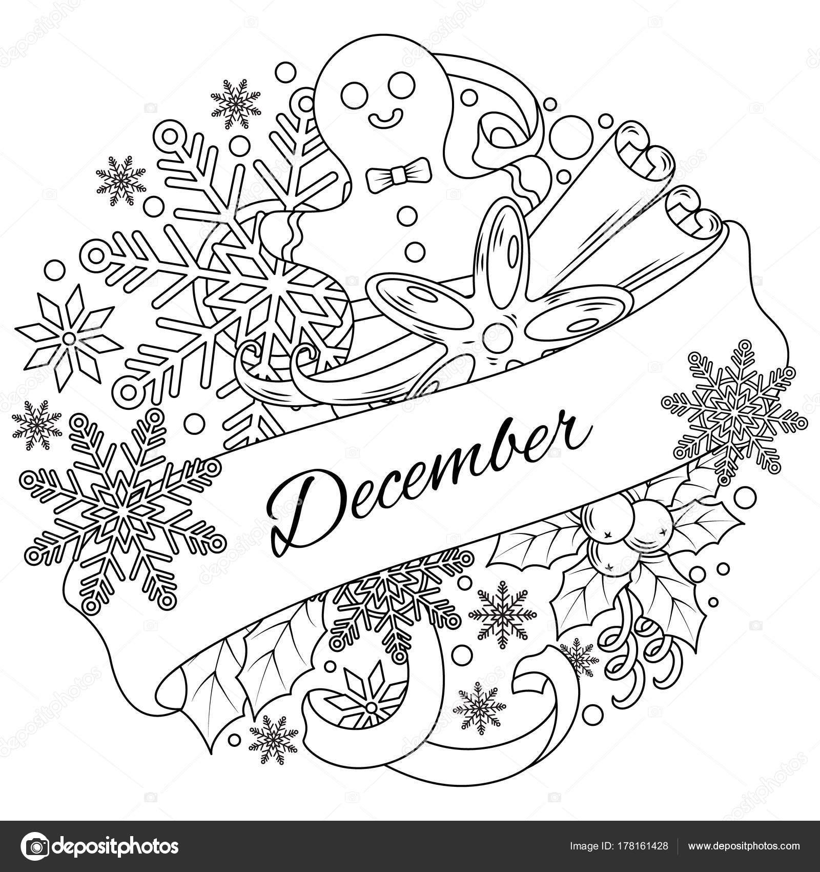 Kleurplaten Seizoen Winter.December De Circulaire Rangschikking Van Elementen