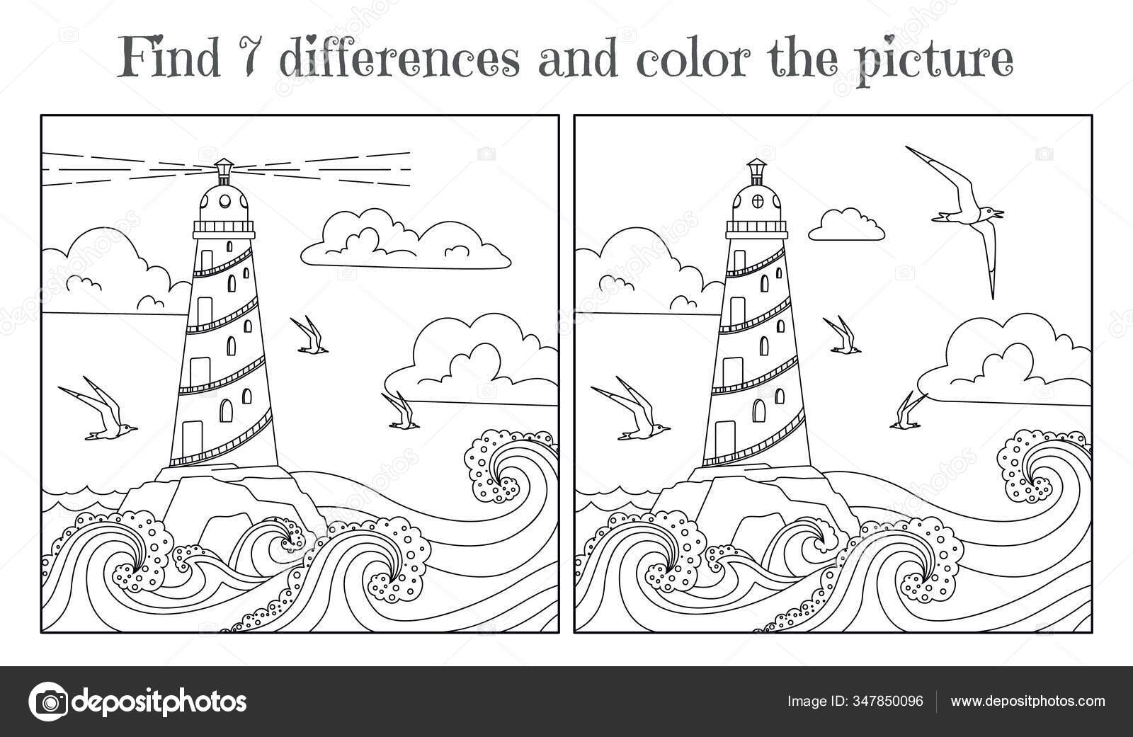 Children Coloring Book Find Seven Differences Seascape Lighthouse Waves Seagulls Stock Vector C Elfhame 347850096
