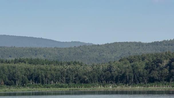 Místo pádu meteoritu. Čebarkuľ. Horský les. Panorama. Šedá obloha. Malé mlha. Opar